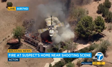 LA County Fire Conducting Water Drops on Home After Active Shooter Situation