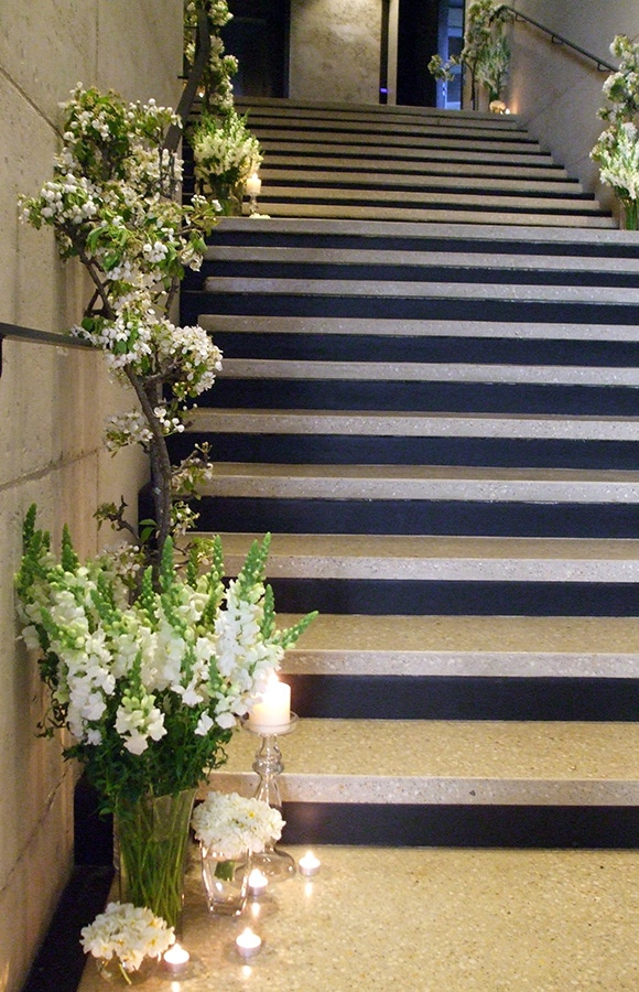 Port Phillip Estate Stairs Decorated with Wedding Flowers