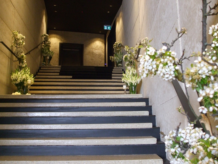 Red Carpet Stair Flower Entrance