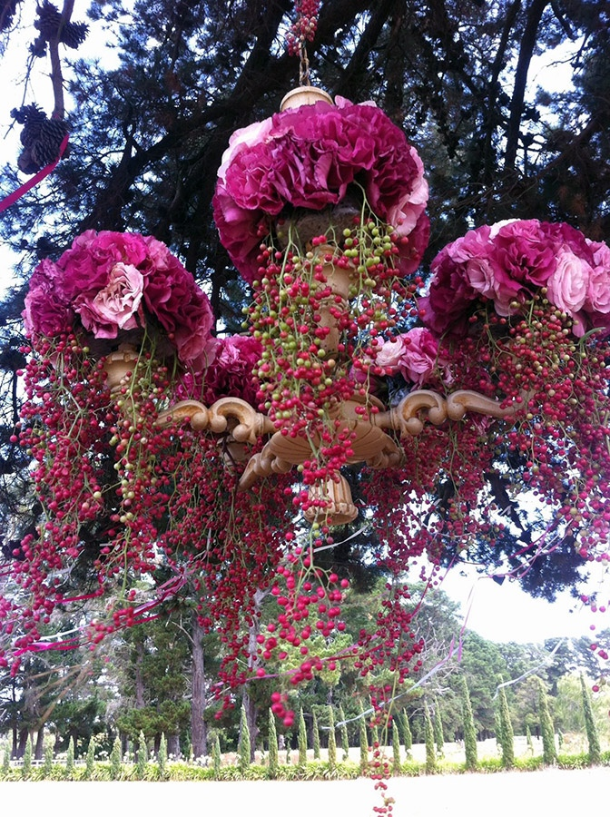 lisianthus and peppercorn floral wedding chandelier