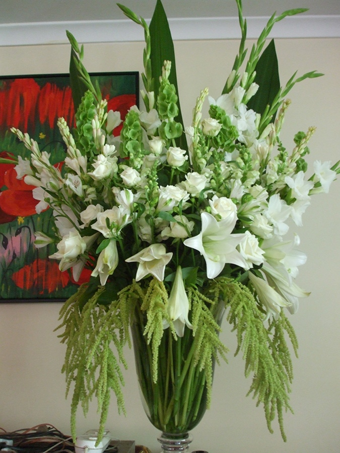 Large White Lily and Rose Corporate Arrangement