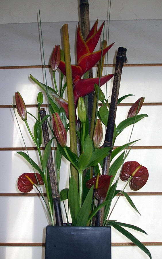 Oriental inspired office floral arrangement