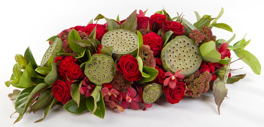 Red Roses, Orchids and Lotus Pod Table Centre