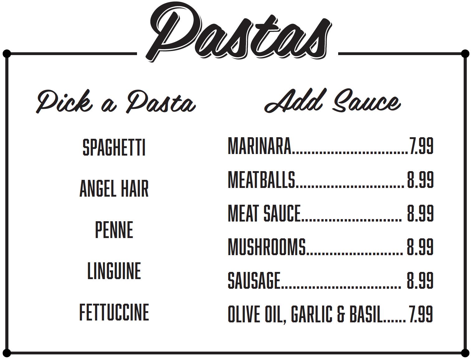 Salis Italian Restaurant Mckinney TX - Pasta Menu