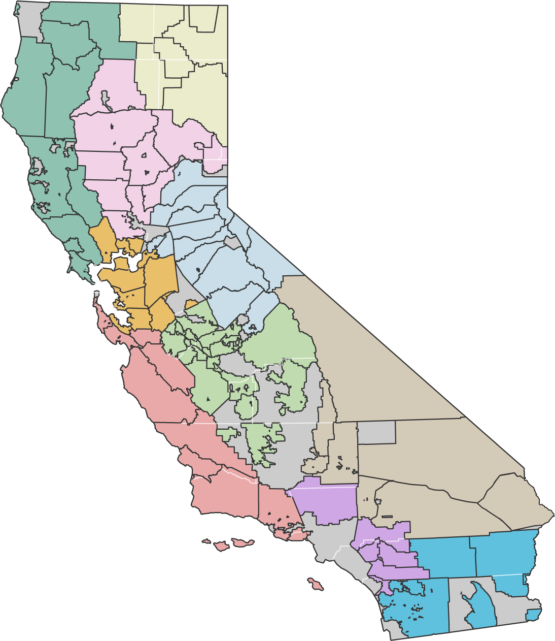 color coded map of RCD regions