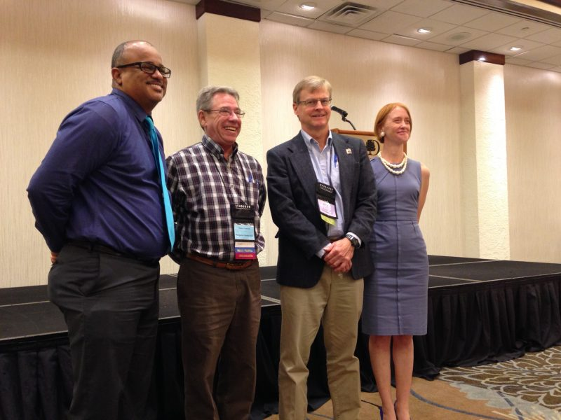 Leader from California's conservation community at an annual CARCD Conference. From left: Carlos Suarez, NRCS State Conservationist; Glenn Franklin, former CARCD Board President; Dr. David Bunn, Director of the Department of Conservation; and Karen Buhr, Executive Director of CARCD