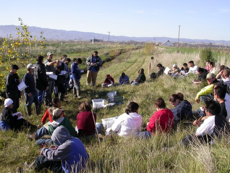RCD staff and high school students in a field workshop
