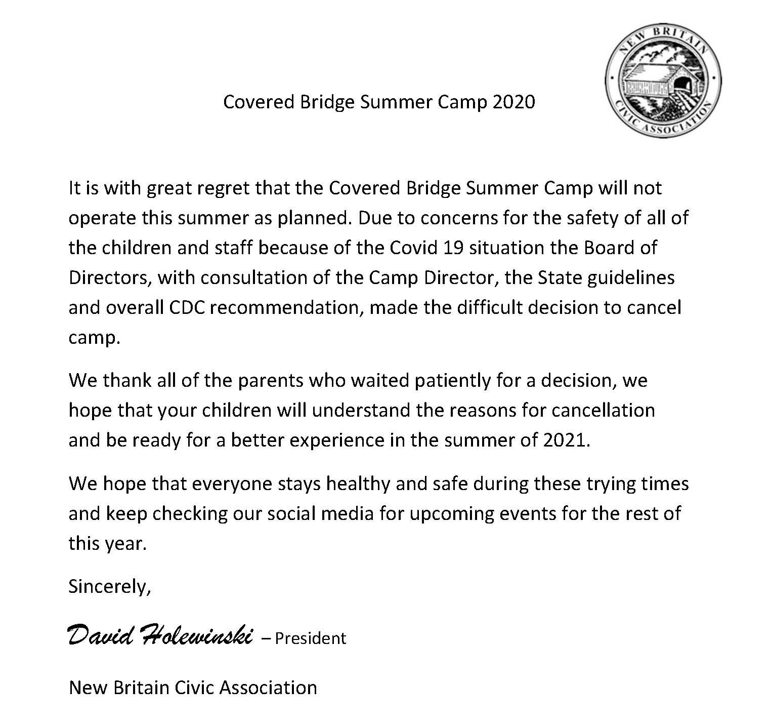 summer camp 2020 cancelled