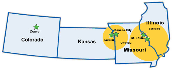 four facility locations. The two Kansas City area locations serve a 100-mile radius. The two St. Louis area locations serve a 150-mile radius.
