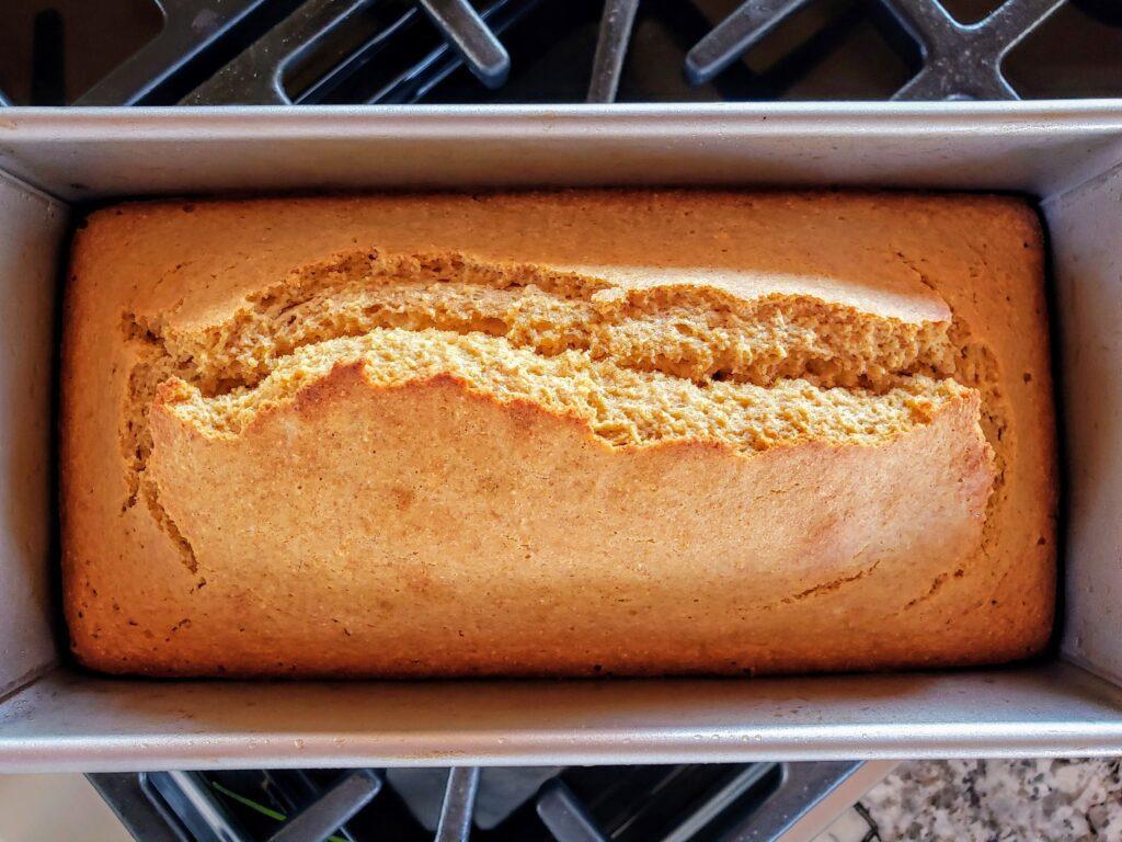 whole wheat cornbread in pan