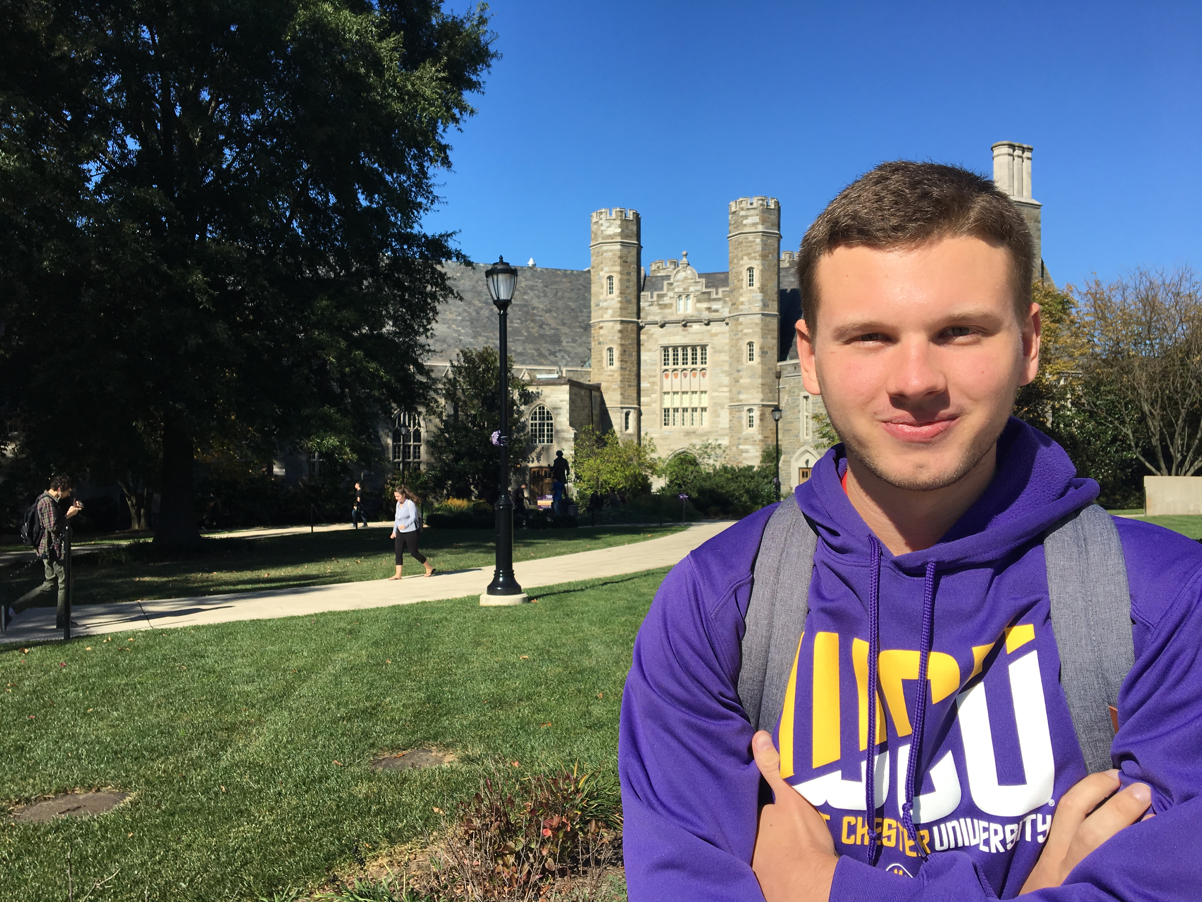 Senior Ryan Kutzler (quoted above) poses in front of Asplundh Hall while telling me about one of his favorite West Chester study spots.