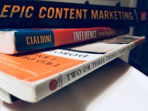 Textbooks on countertop