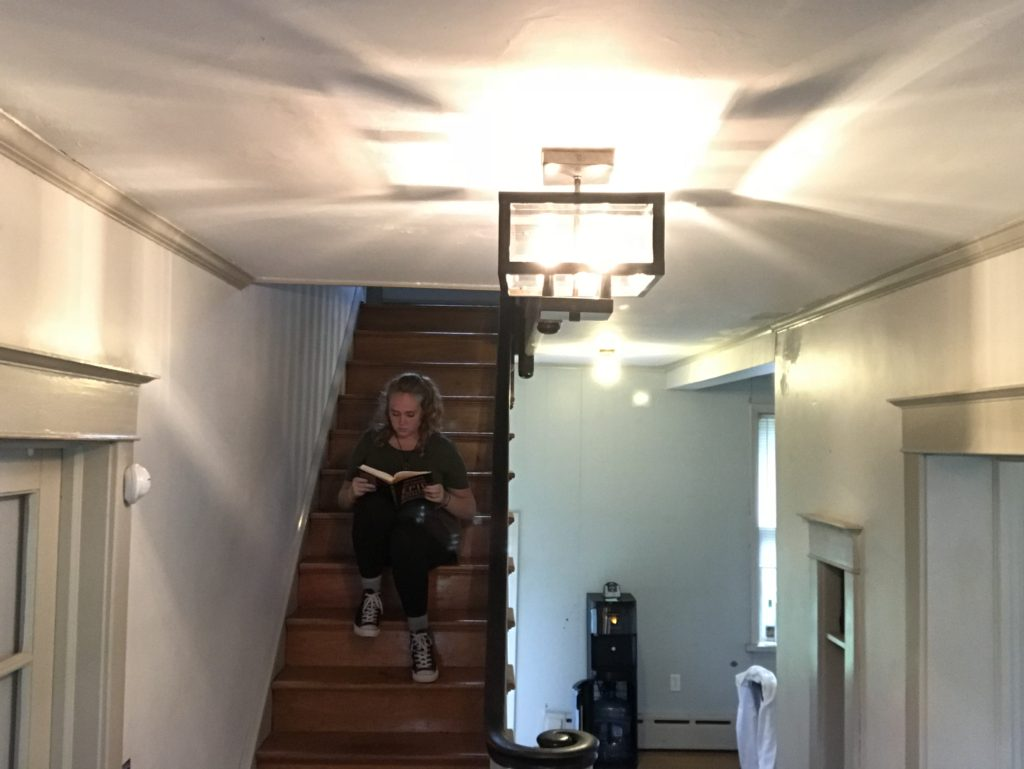 Reading on a Staircase