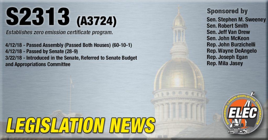 Legislation Update: S-2313 Establishes zero emission certificate program.