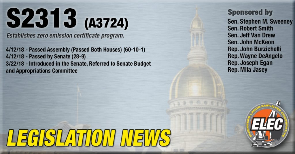 Legislation Update: S-2313 Establishes zero emission certificate program.
