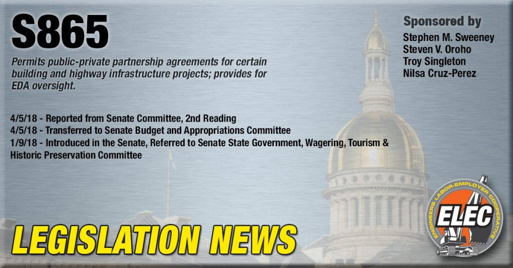 Legislation Update: S-865 Public-Private-Partnerships in New Jersey