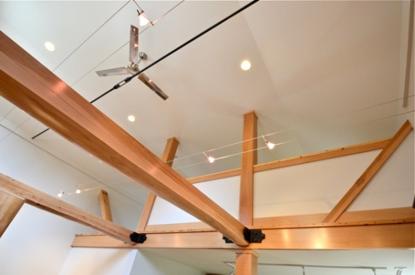 Kitchen Showroom, Second Floor Loft with Exposed Beams. Finished with Vermont Natural Coatings.