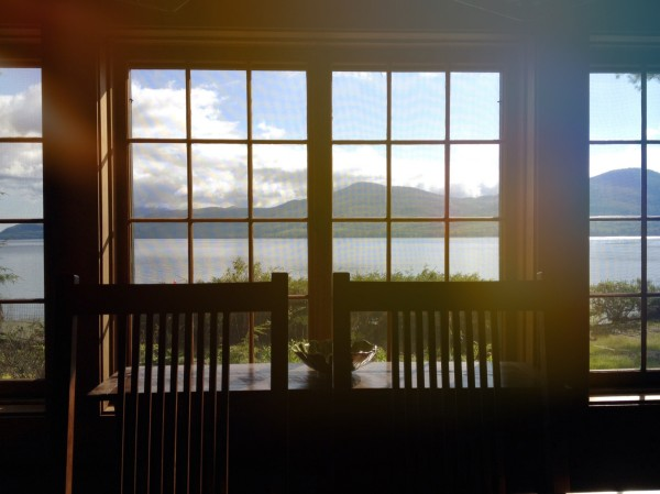 View from the dining table, overlooking Lake George.