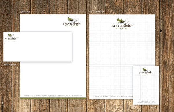 ShoreHaven Stationery Suite:  Letterhead, Graph Pad, Note Card and Envelope