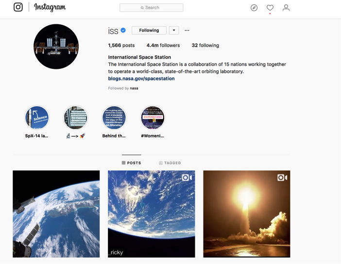 International Space Station Instagram
