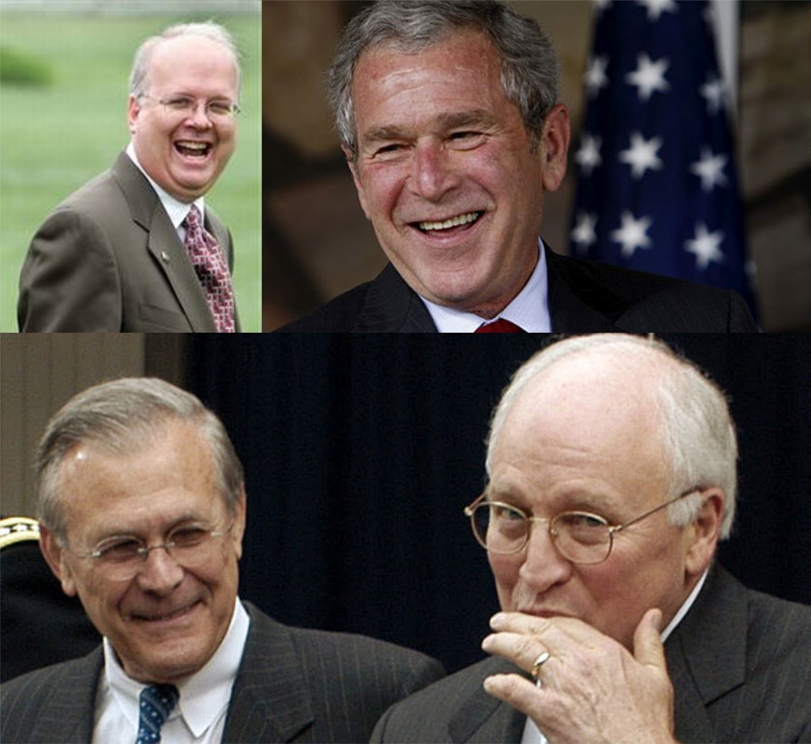 Rove, Bush Jnr, Rumsfeld & Cheney.