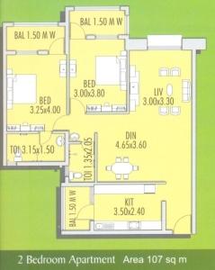 Devashri Garden 2 BHK Floor Plan Type 1