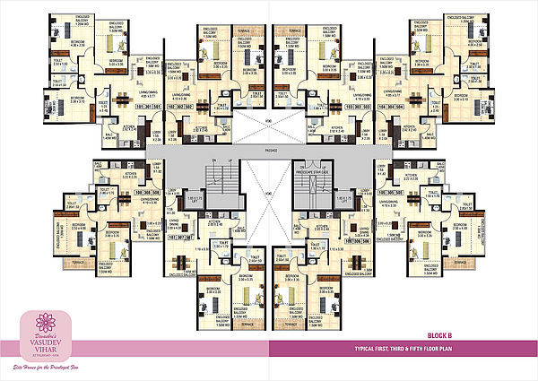 Block B - Typical 1st, 3rd and 5th Floor Plan