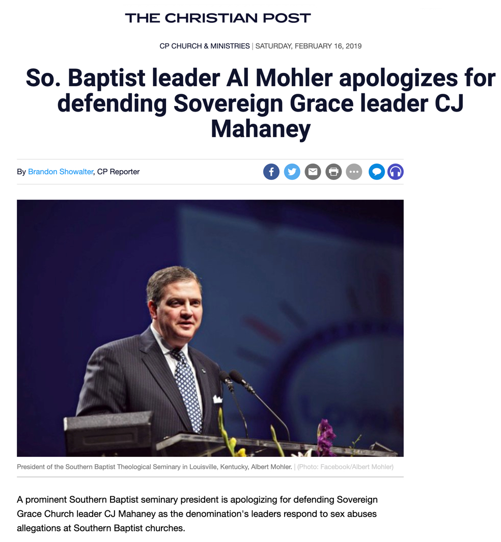 Al Mohler Throws Mahaney Under the Bus