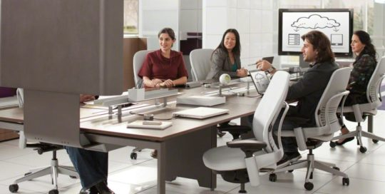 Large Corporation, Steelcase FrameOne with media:scape, Leap Chairs