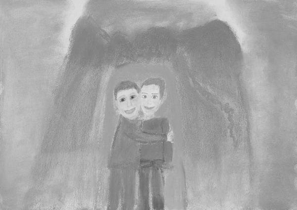 Child's painting of two kid friends hugging