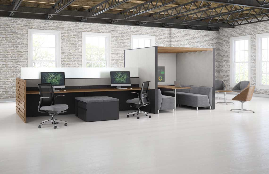Kimball Office – rich tradition of craft with creative elements from regional artisans, with innovate material applications