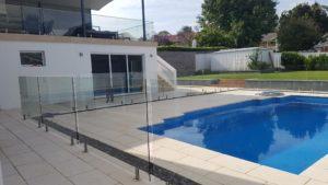 Glass pool balustrades