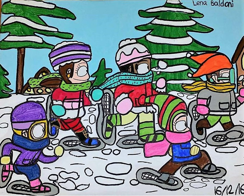 Snowshoeing Girls by  Lena Baldoni