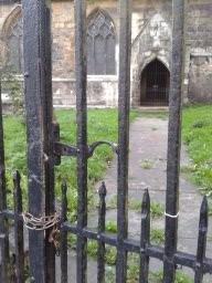 Locked gate to church