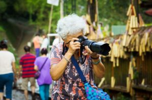 older lady with camera