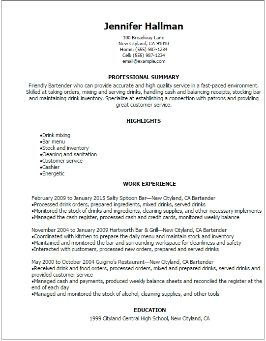 Restaurant Bar Resume Templates Graduate Jobs Internships