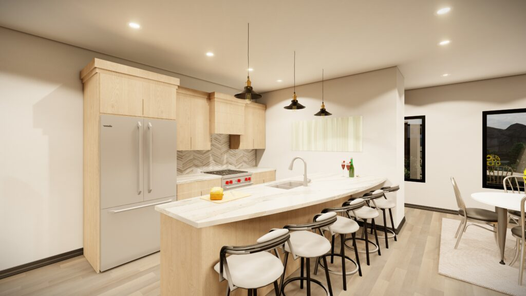 Kitchen with island and bar stools Kingsbury Village Apartments Sheboygan