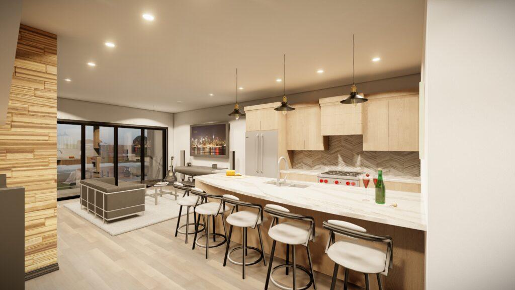 Kitchen into living room Kingsbury Village Apartments Sheboygan