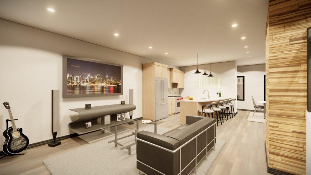 Couch into kitchen Kingsbury Village Apartments Sheboygan