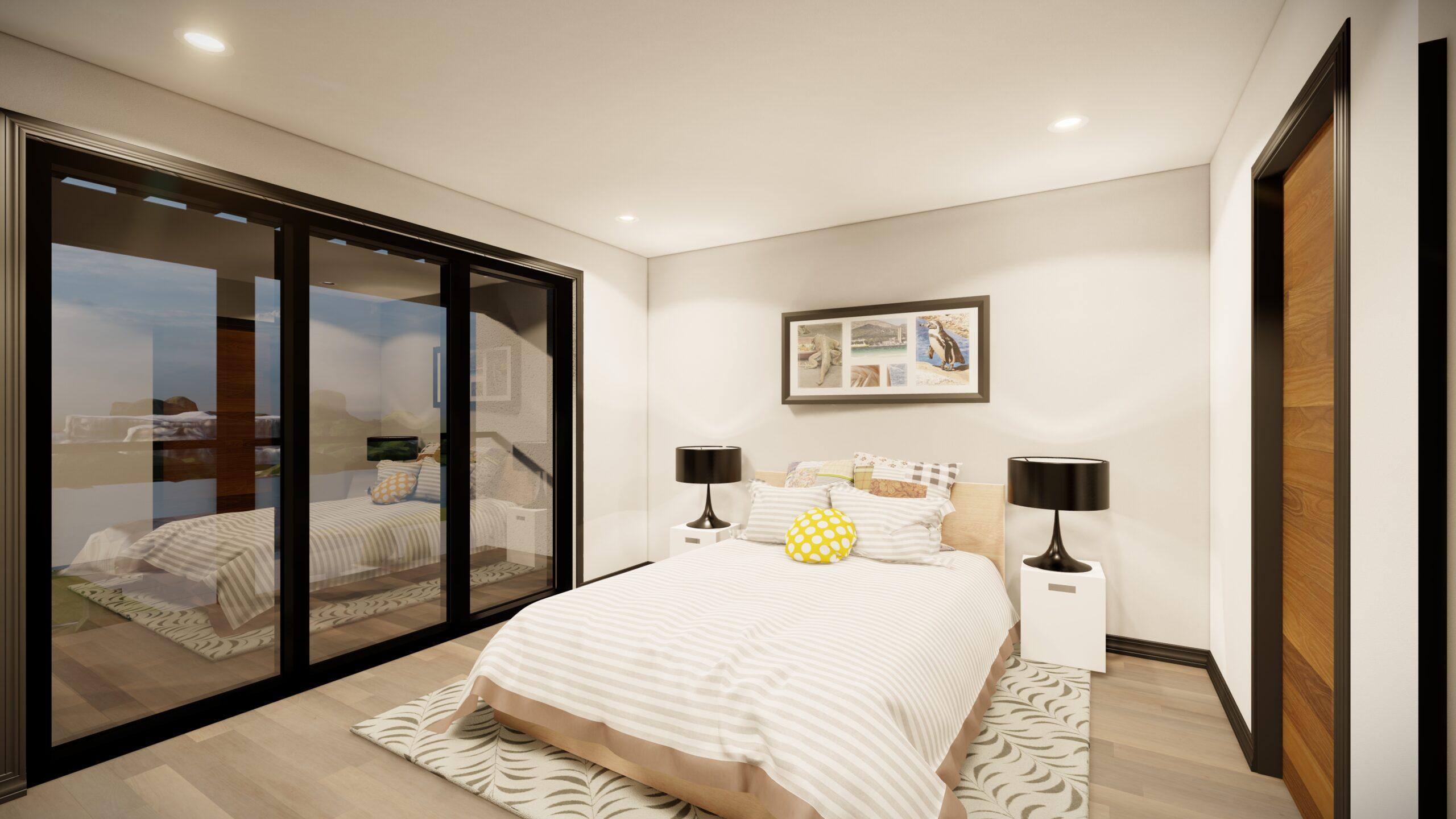 Master bedroom bed with large window Kingsbury Village Sheboygan