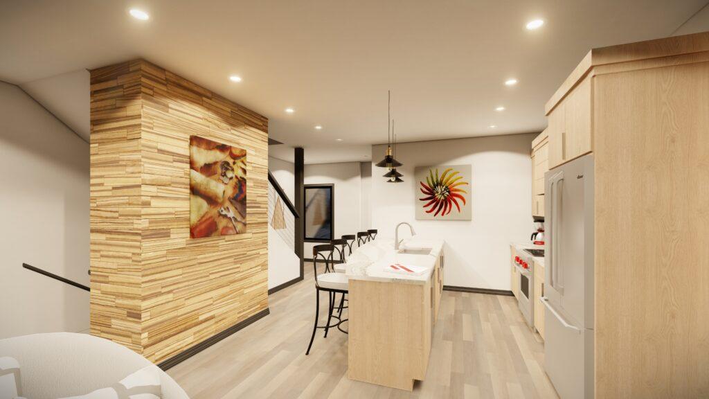 Kitchen island with bar stools Kingsbury Village Apartments Sheboygan