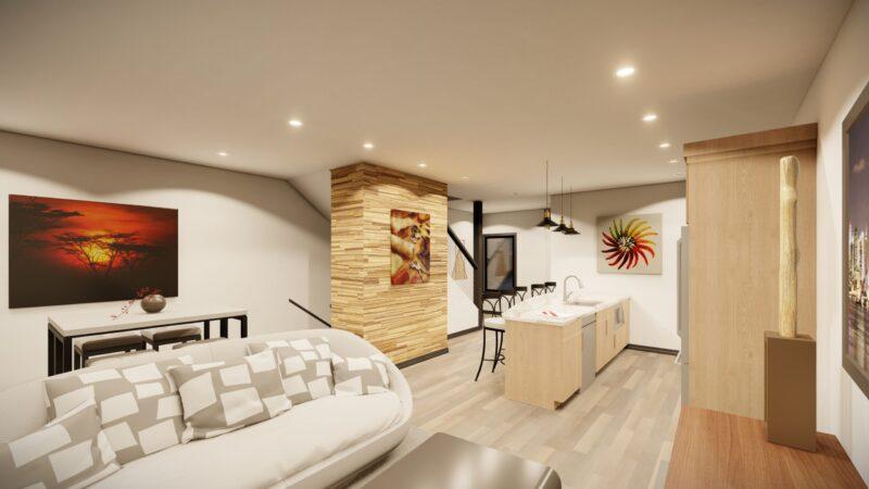 Living room into kitchen Kingsbury Village Apartments Sheboygan