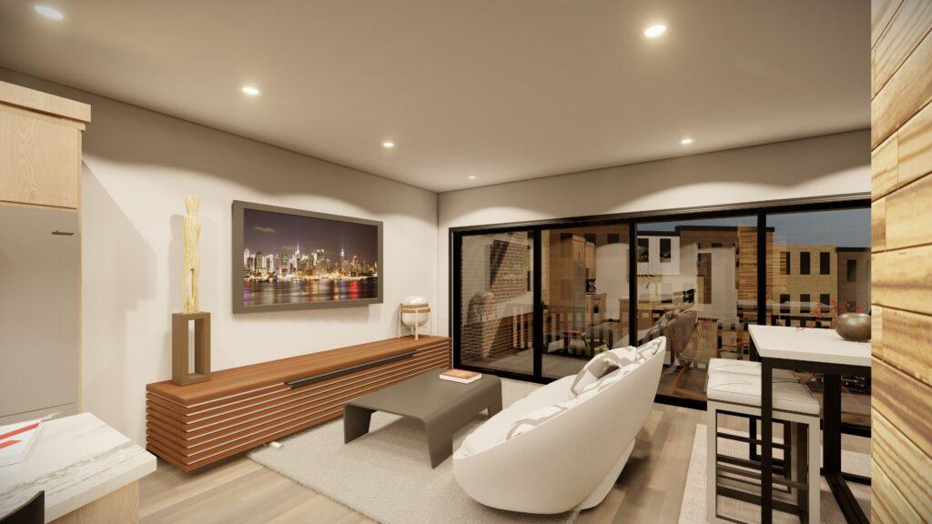 Living room with balcony kingsbury village apartments sheboygan