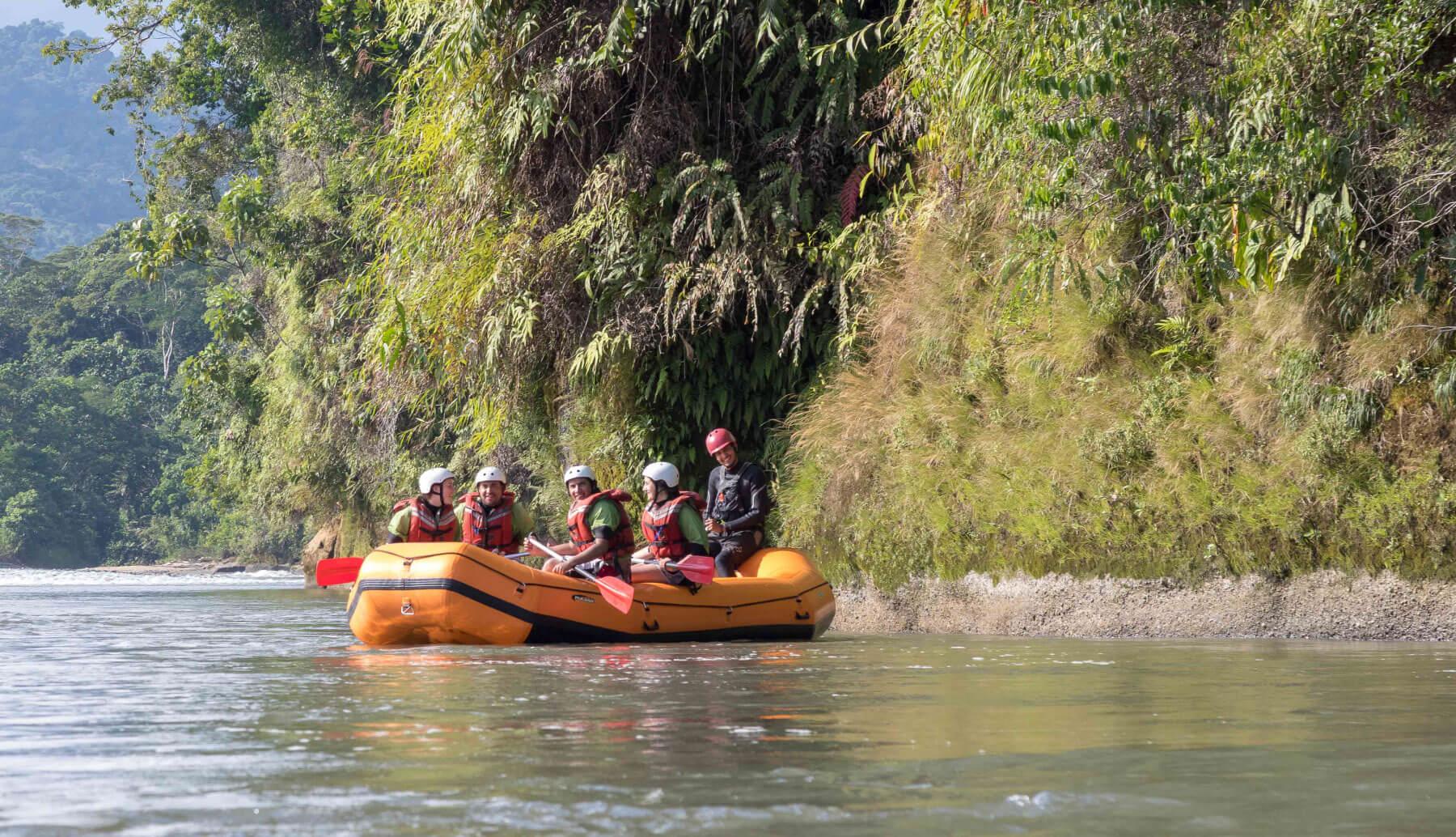 Rafting boat in a river in Napo, Tena