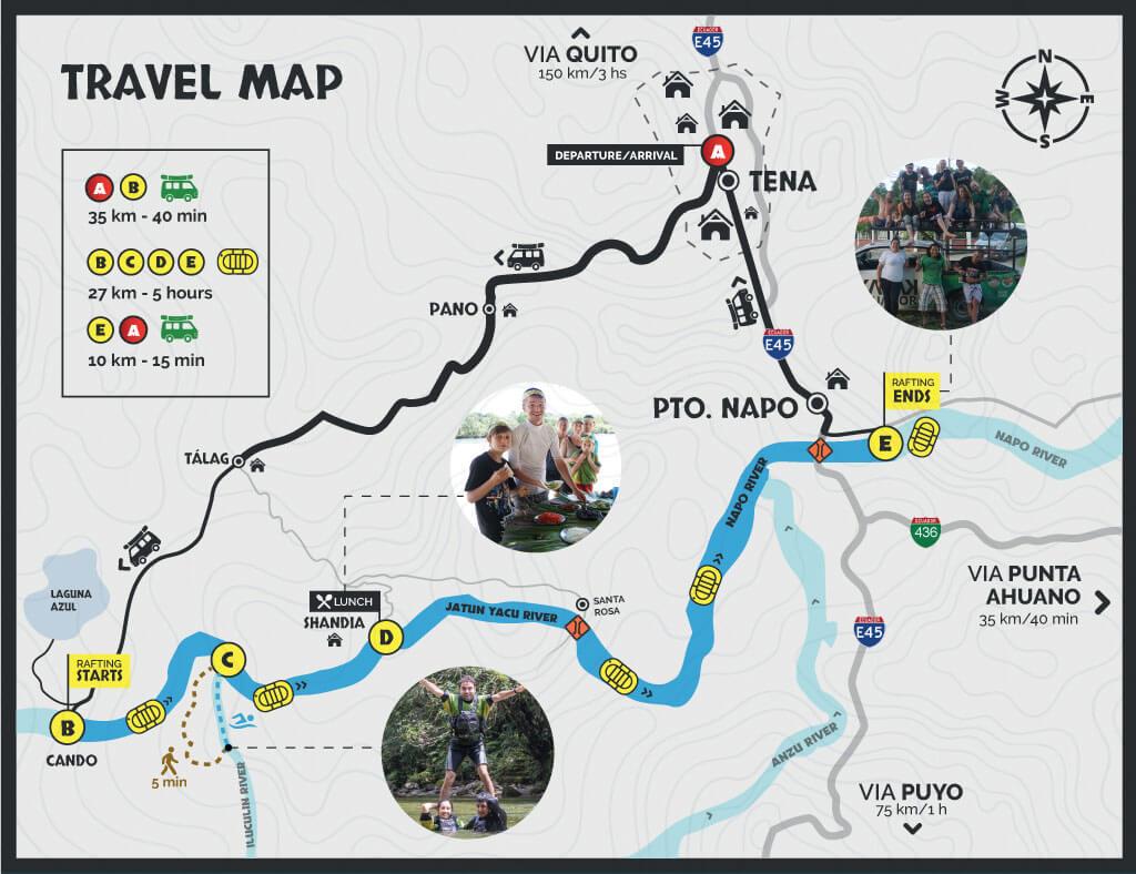 Rafting Jatunyacu travel map
