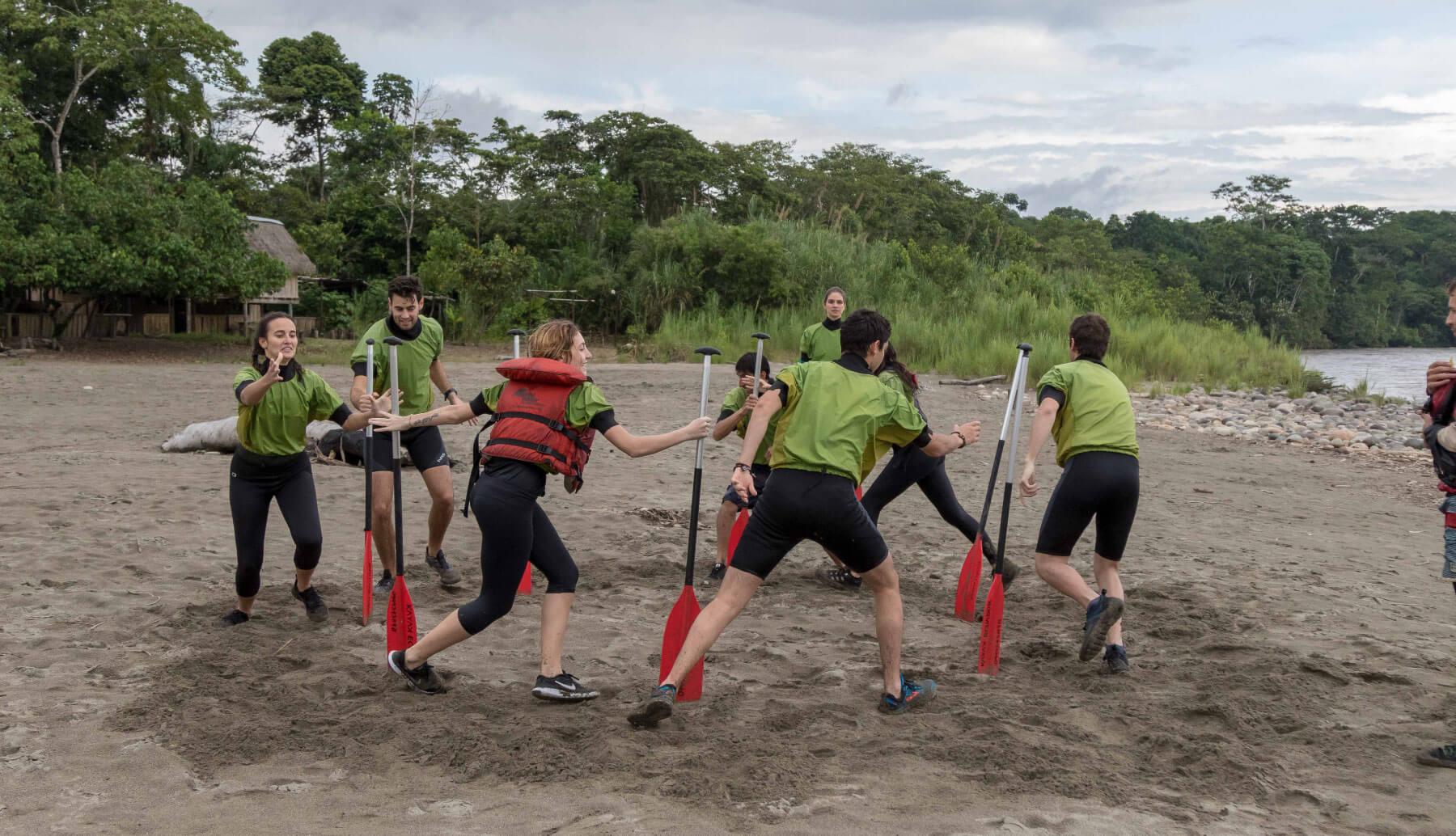 Beach games in Shandia before rafting trip