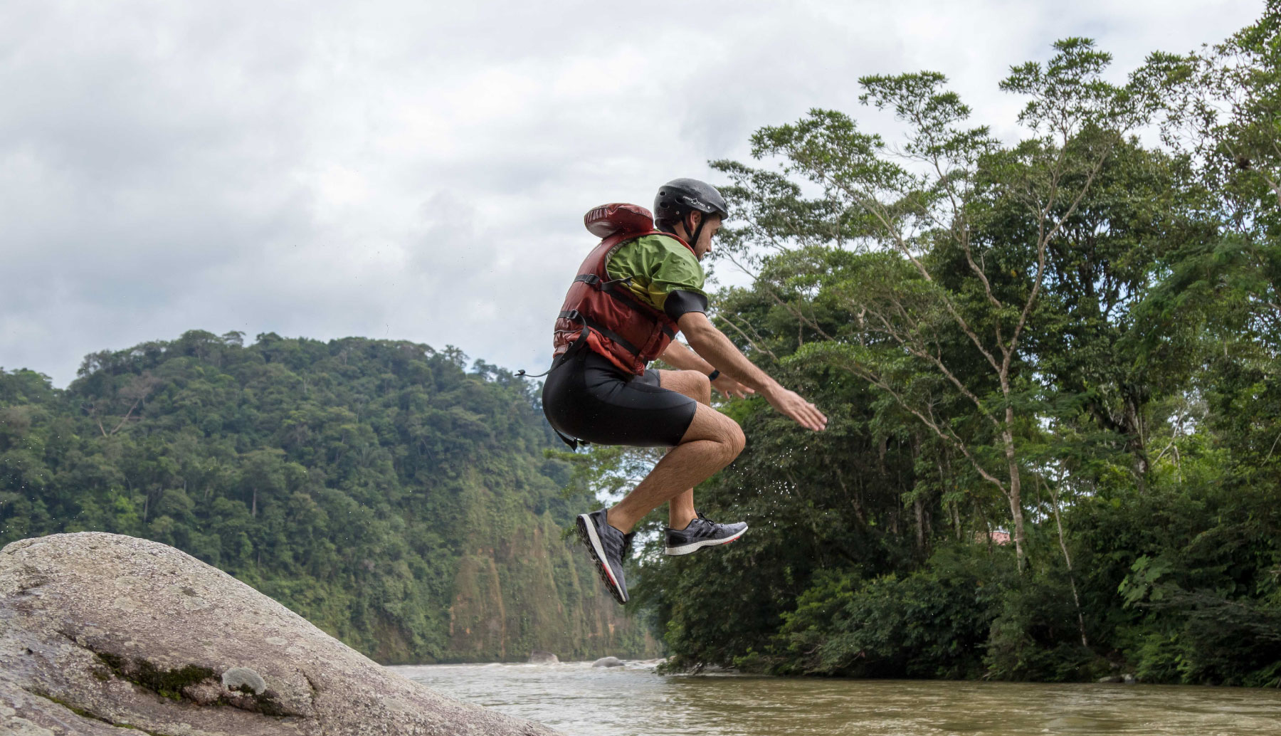 Jatun Yacu Rafting Trip. One of our clients jumping from one of many rocks at this amazing river