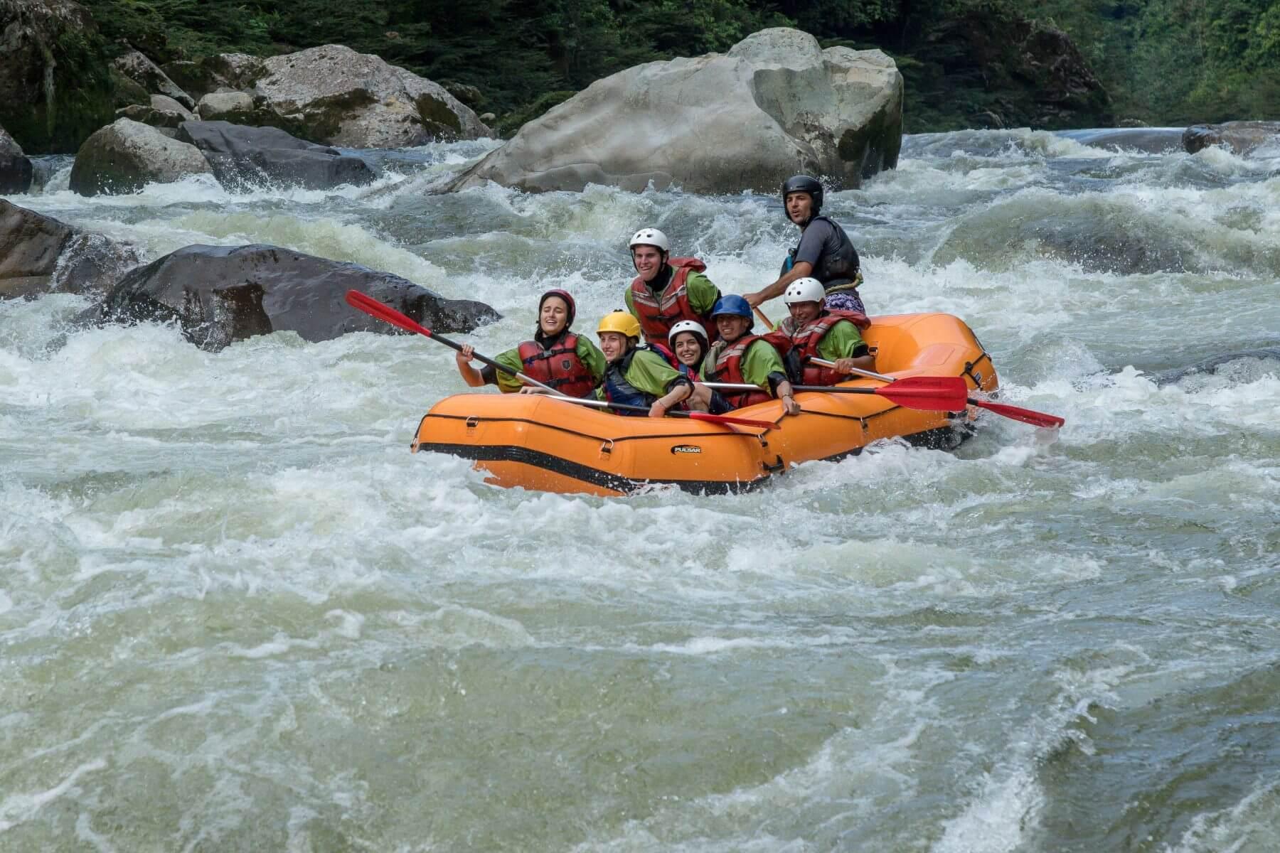Rafting boat in Jondachi river. Napo, Tena.