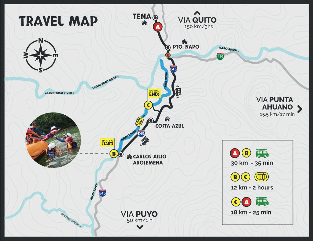Rafting Anzu travel map