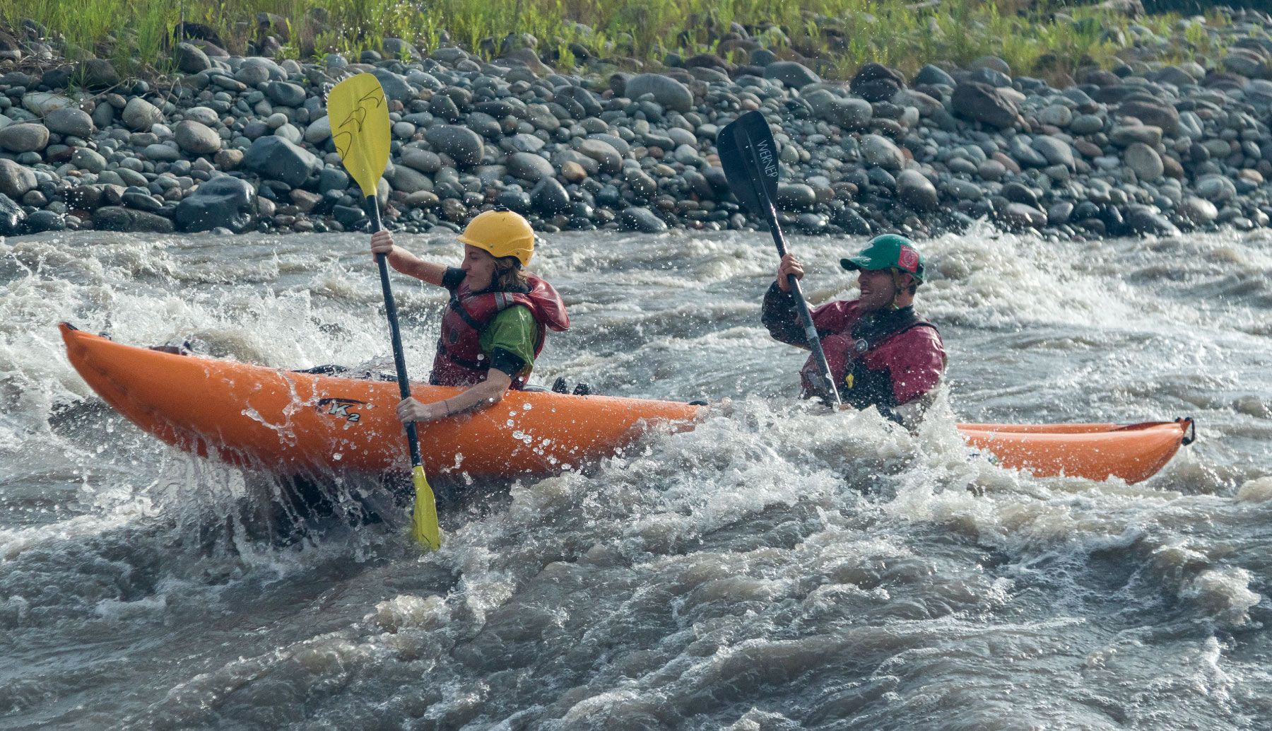 Inflatable kayak descending Jatunyacu river